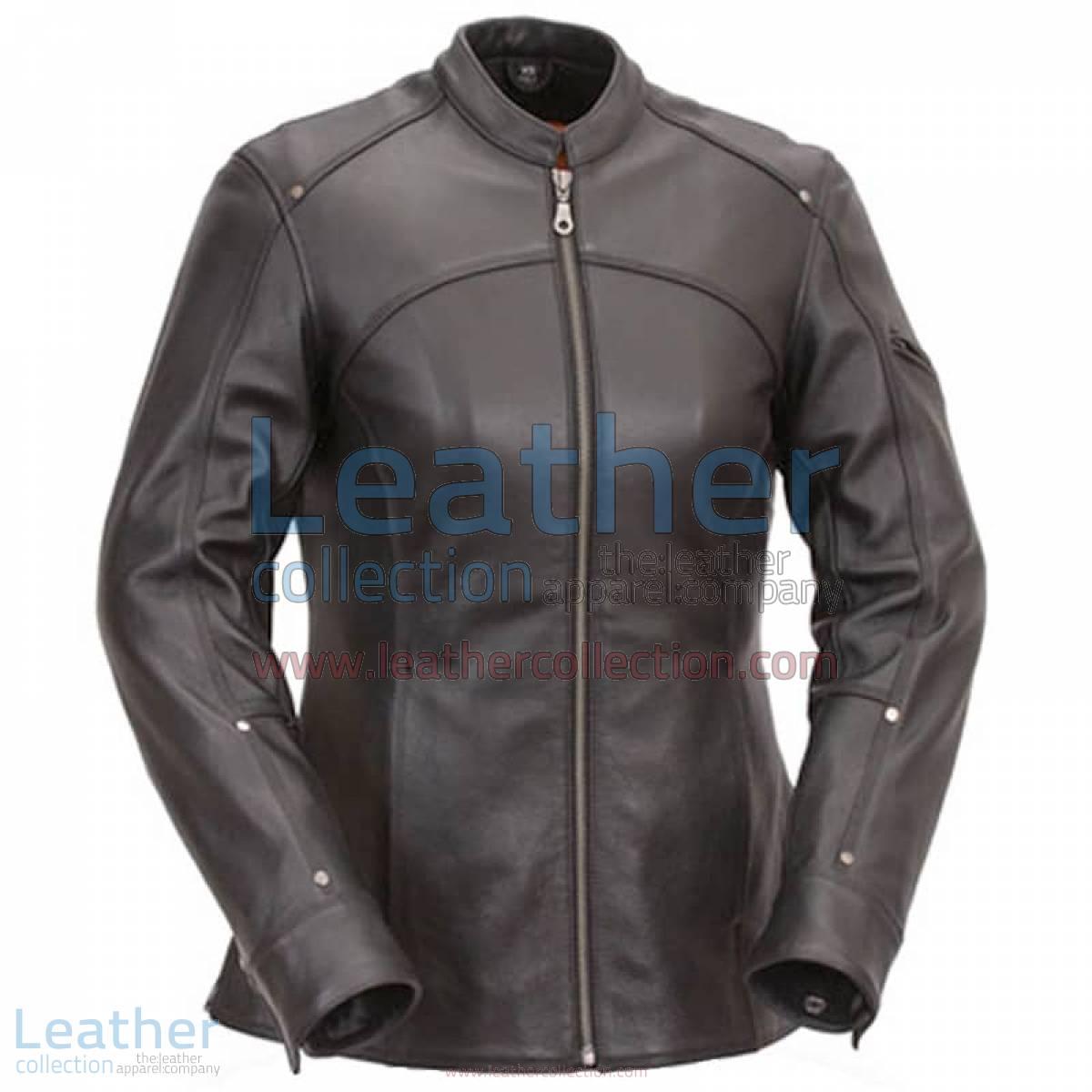 3/4 Length Touring Motorcycle Leather Jacket