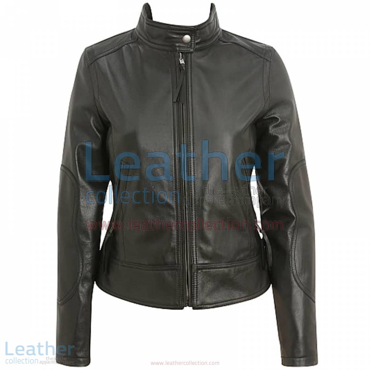 Band Collar Leather Motorcycle Jacket