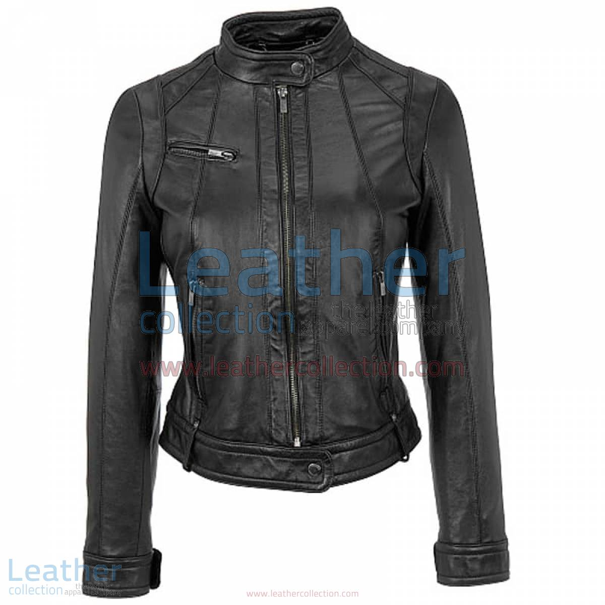 Banded Collar Washed Leather Scuba Jacket in Black
