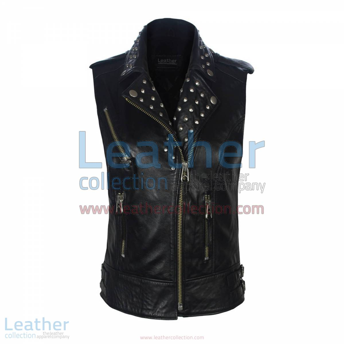 Biker Ladies Leather Studded Collar Vest
