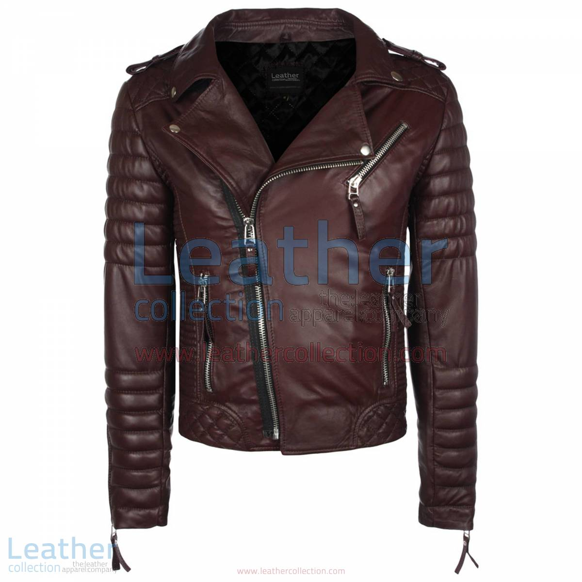 Biker Men Chocolate Brown Quilted Leather Jacket