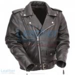 Black Leather Motorcycle Jacket with Exclusive Built-in Back Support | leather motorcycle jacket