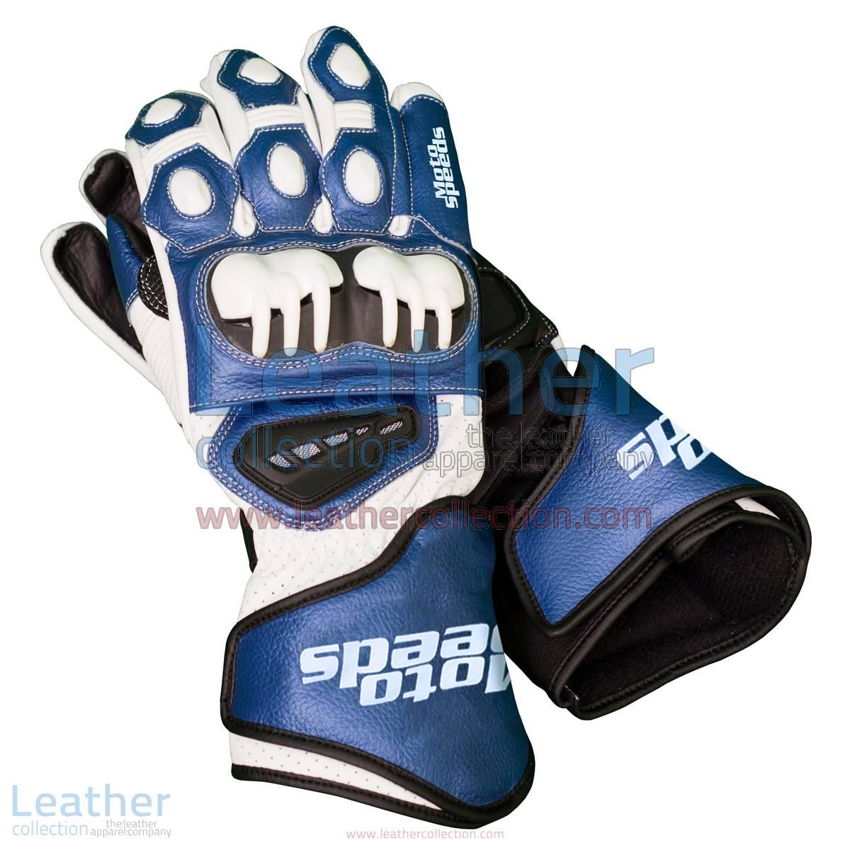 Blue & White Leather Biker Gloves