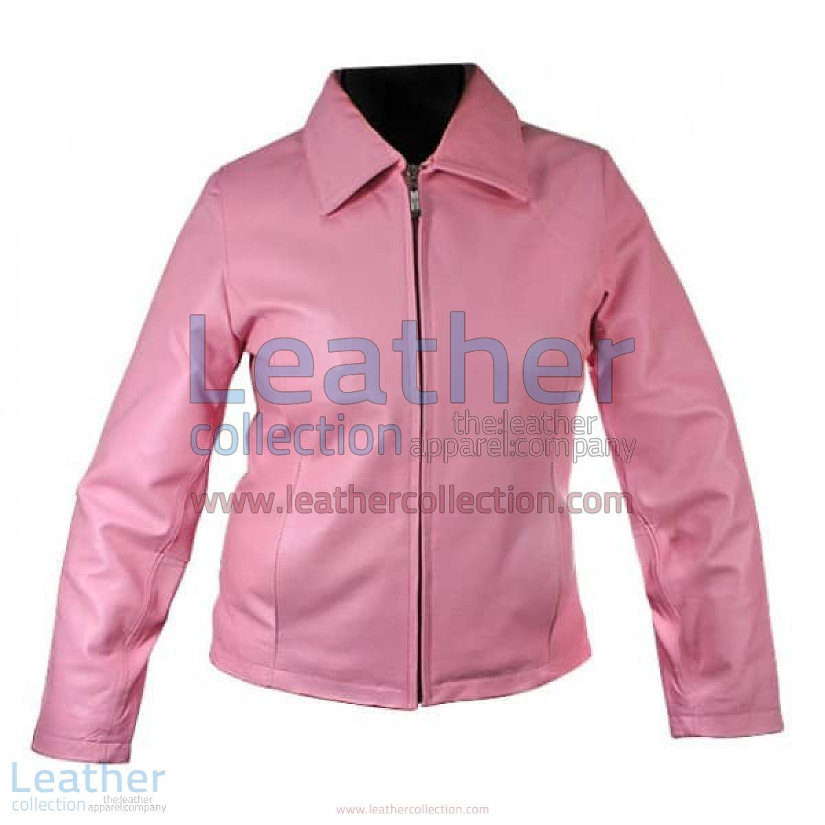 Classic Ladies Pink Leather Jacket