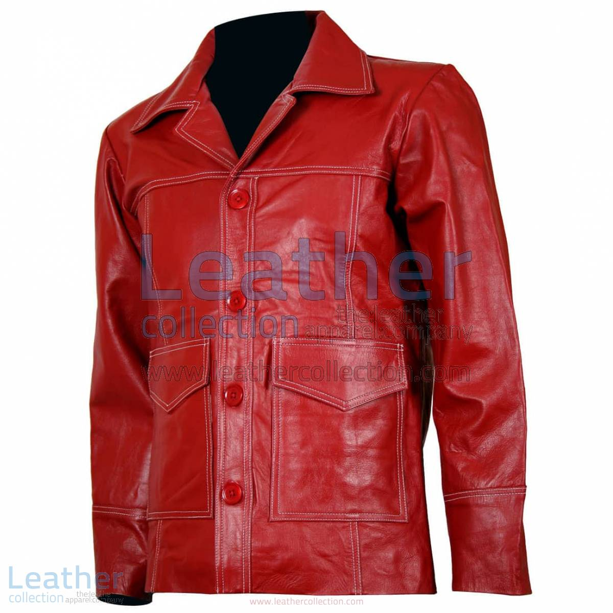 Fight Club Original Red Leather Jacket