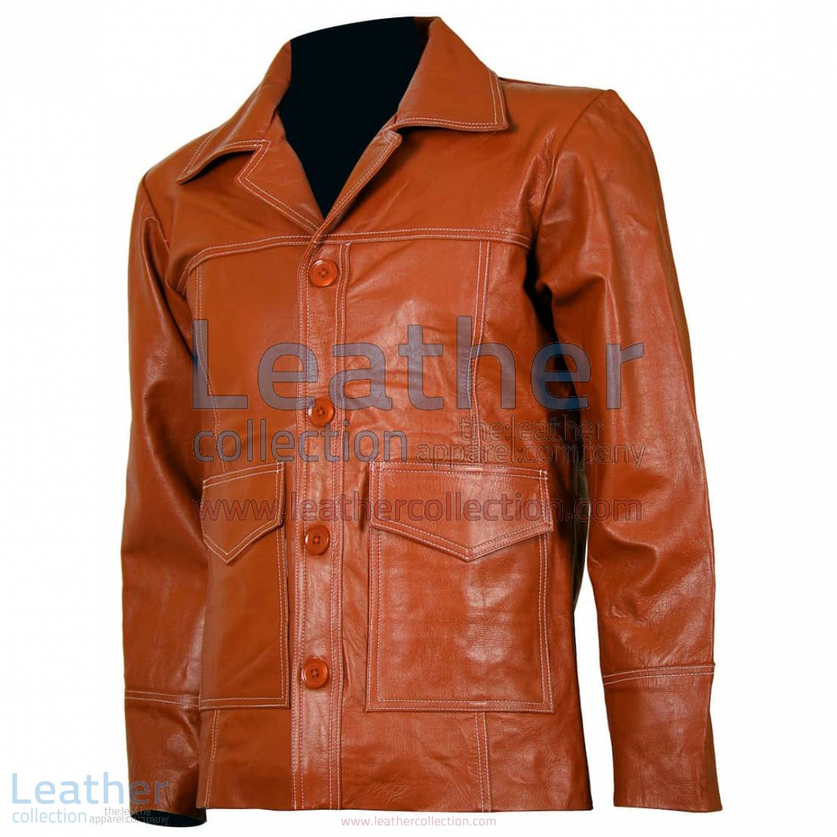 Fight Club Original Tan Leather Jacket
