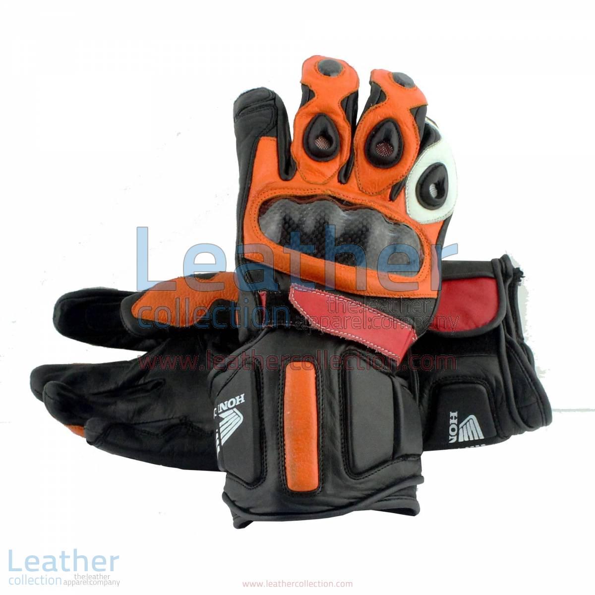Honda Repsol Leather Motorbike Gloves