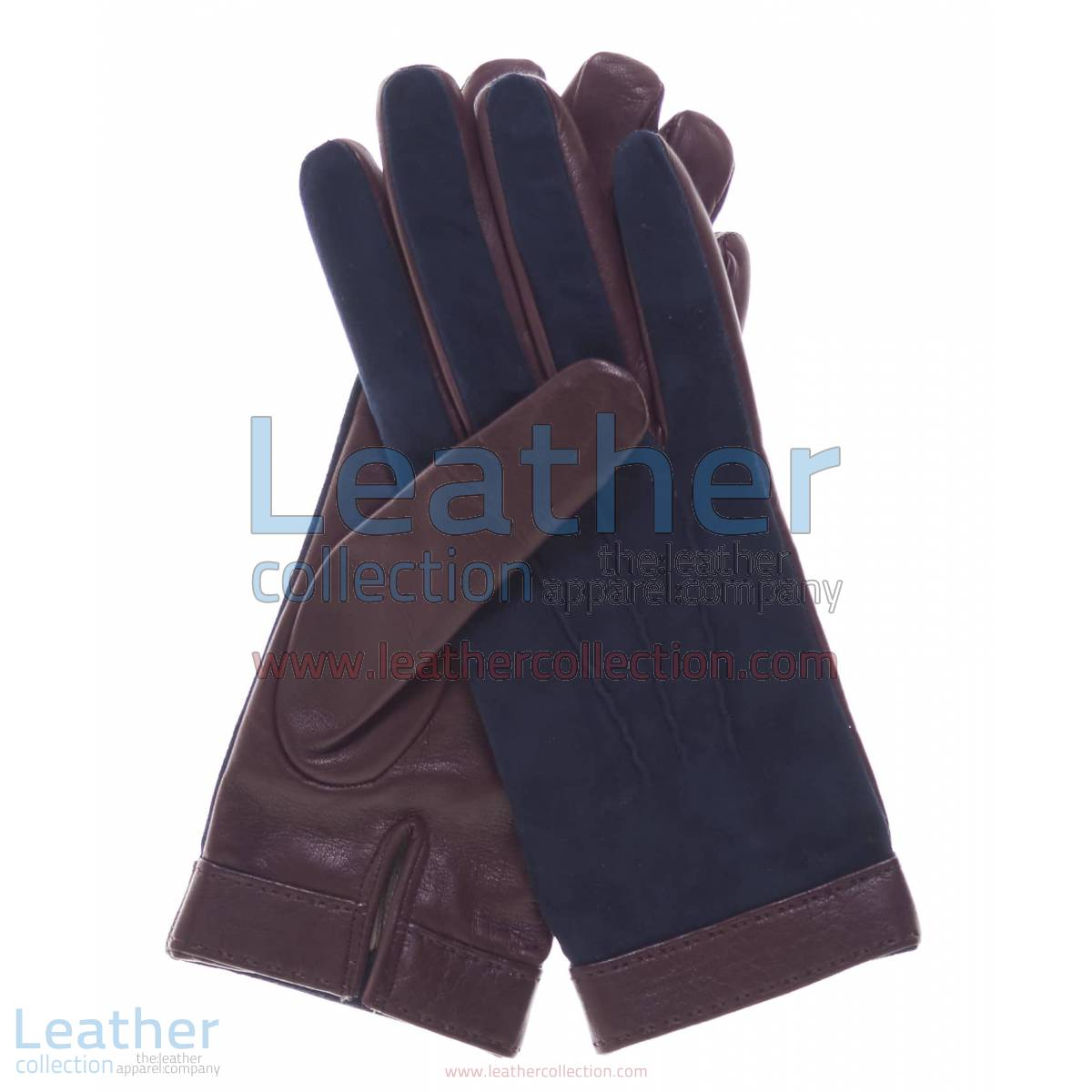 Ladies Blue Suede and Lambskin Gloves