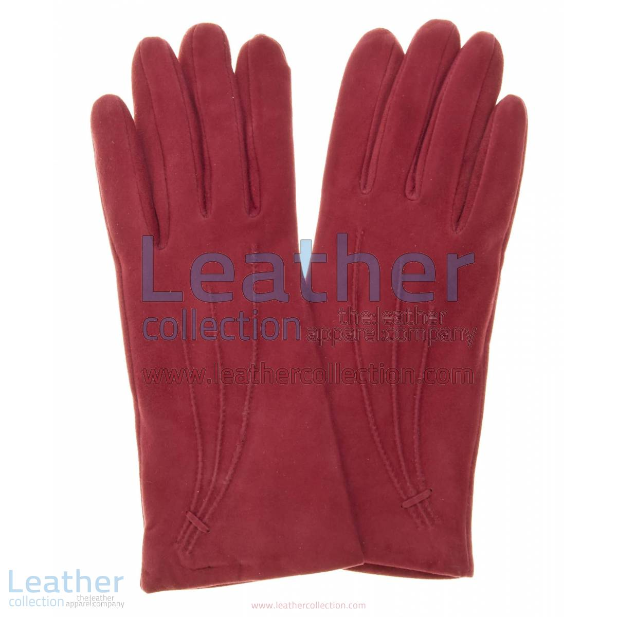 Ladies Claret Cashmere Lined Suede Gloves