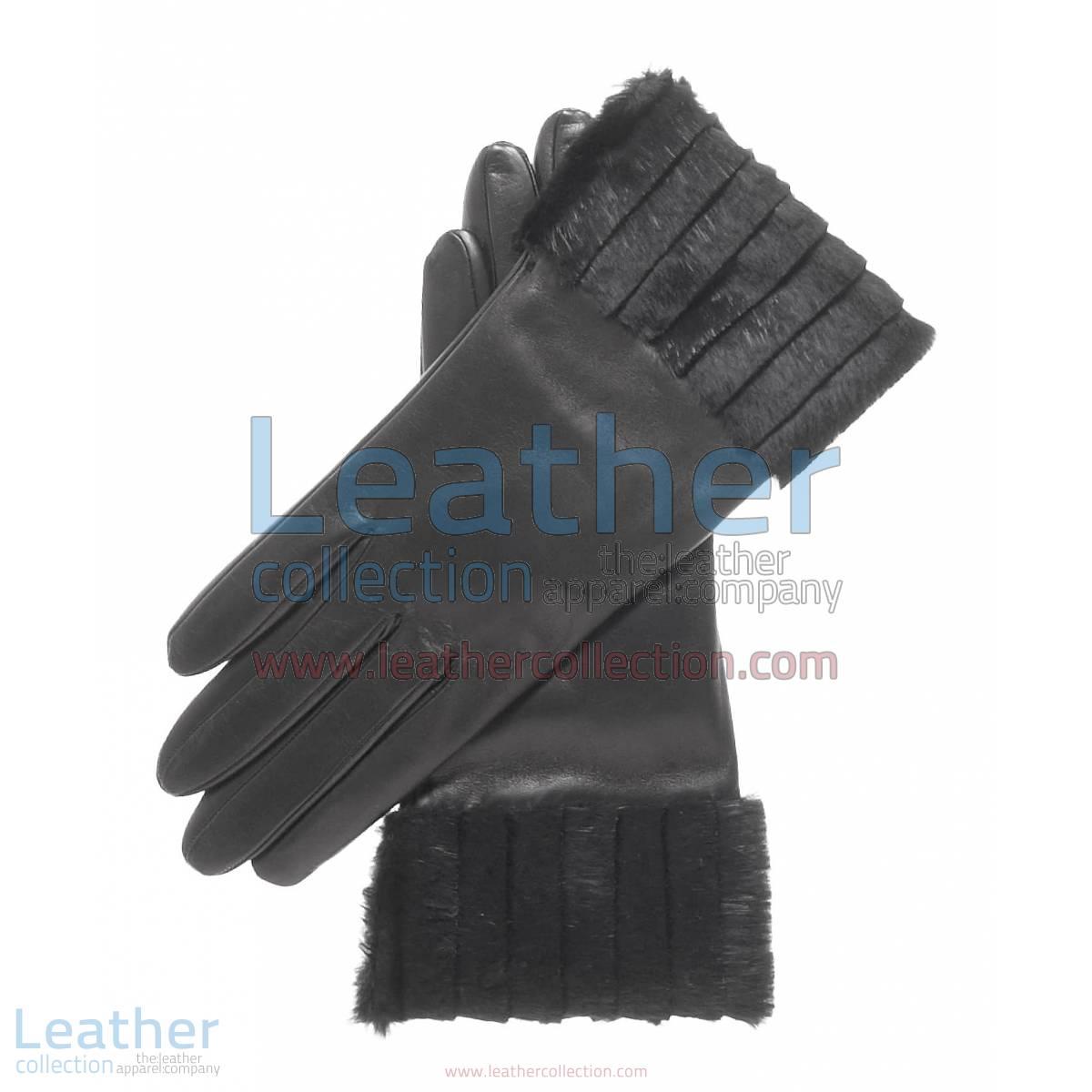 Ladies Fashion Black Fur Cuff Gloves