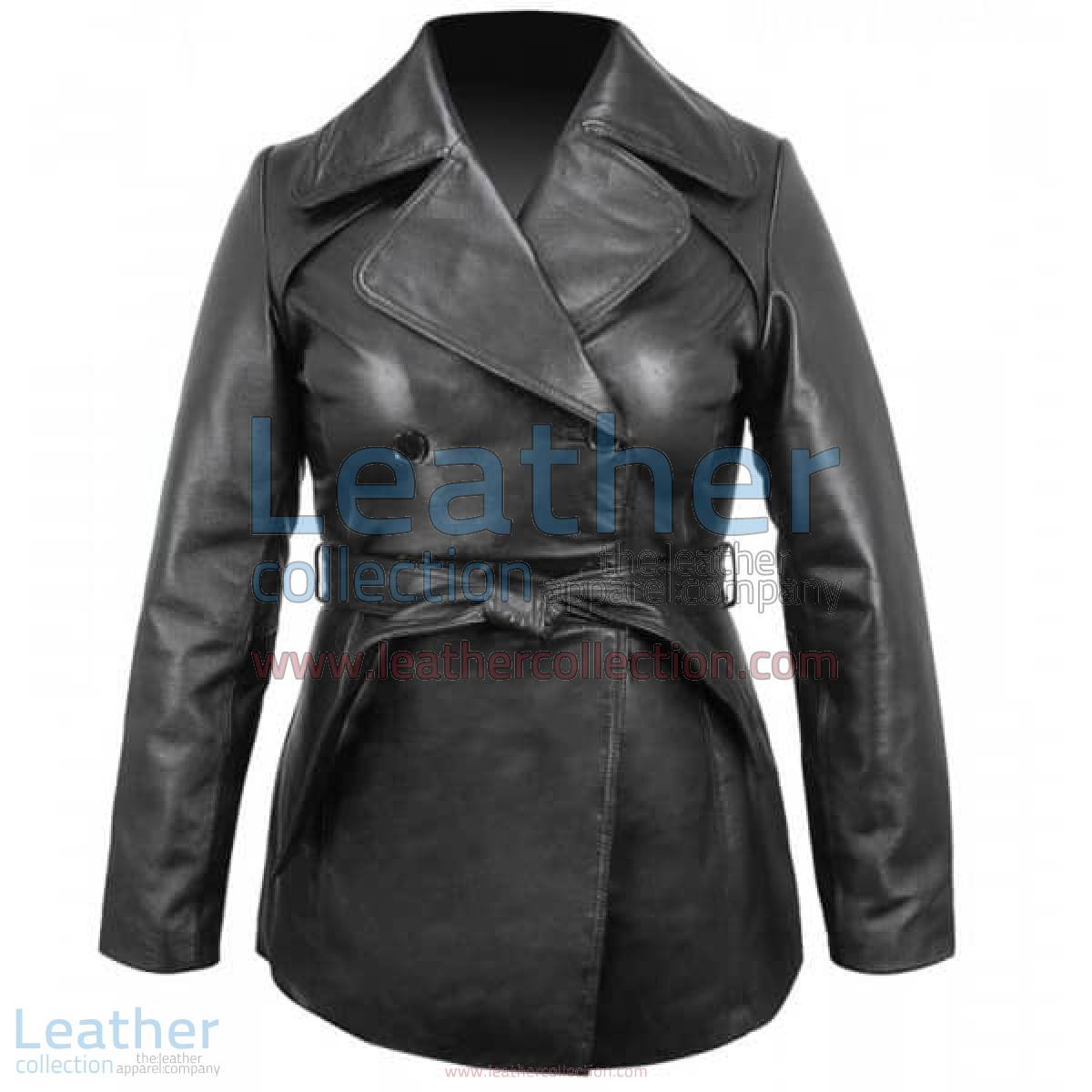 Ladies Leather Belted Pea Coat