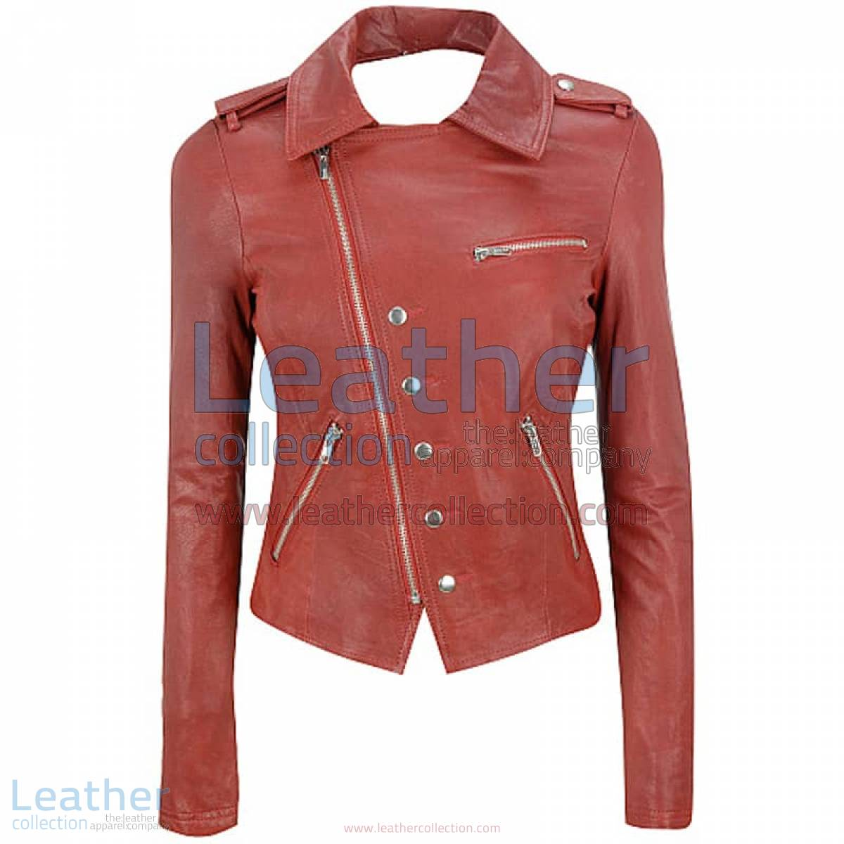 Cutaway Asymmetrical Leather Jacket Womens