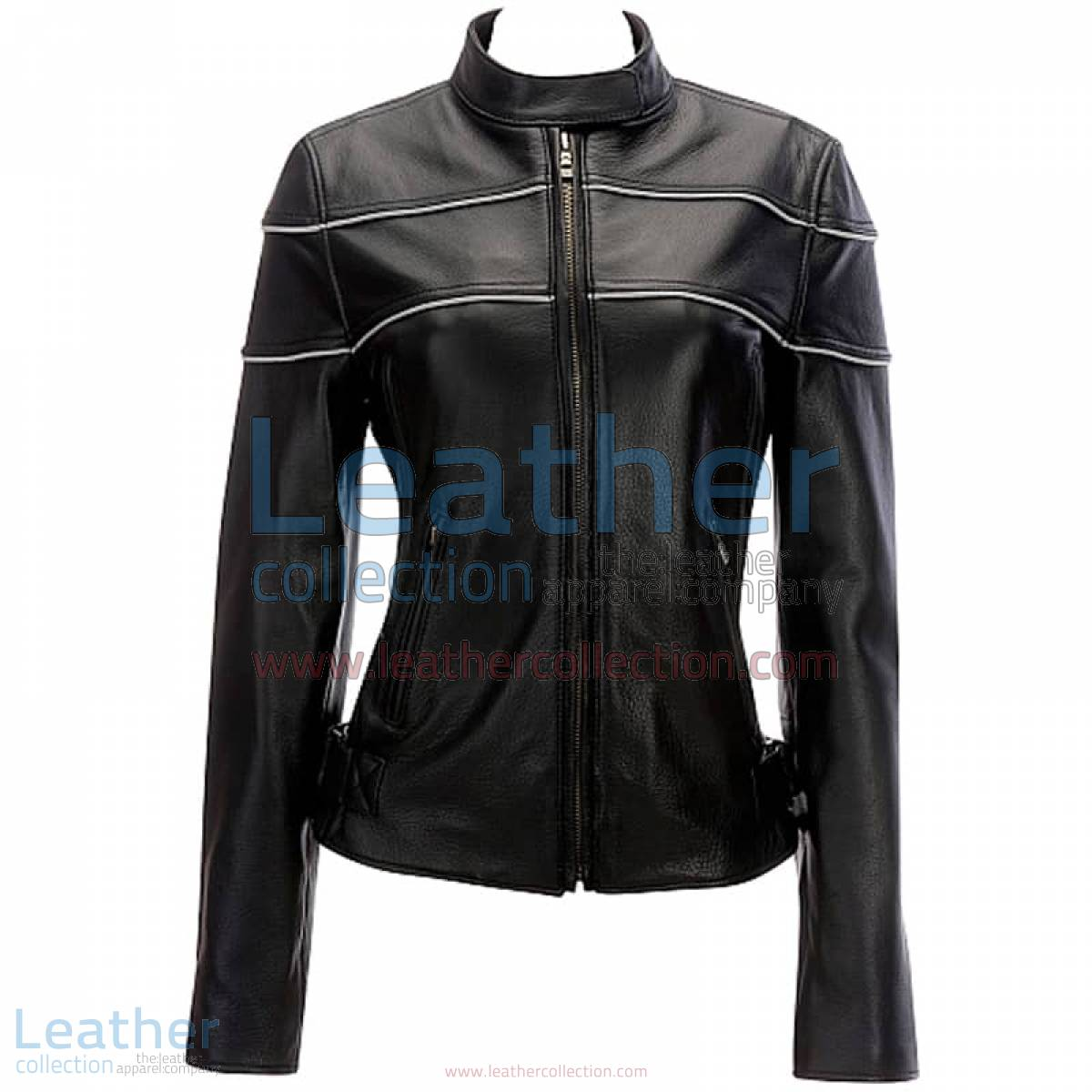 Leather Reflective Piping Jacket Black