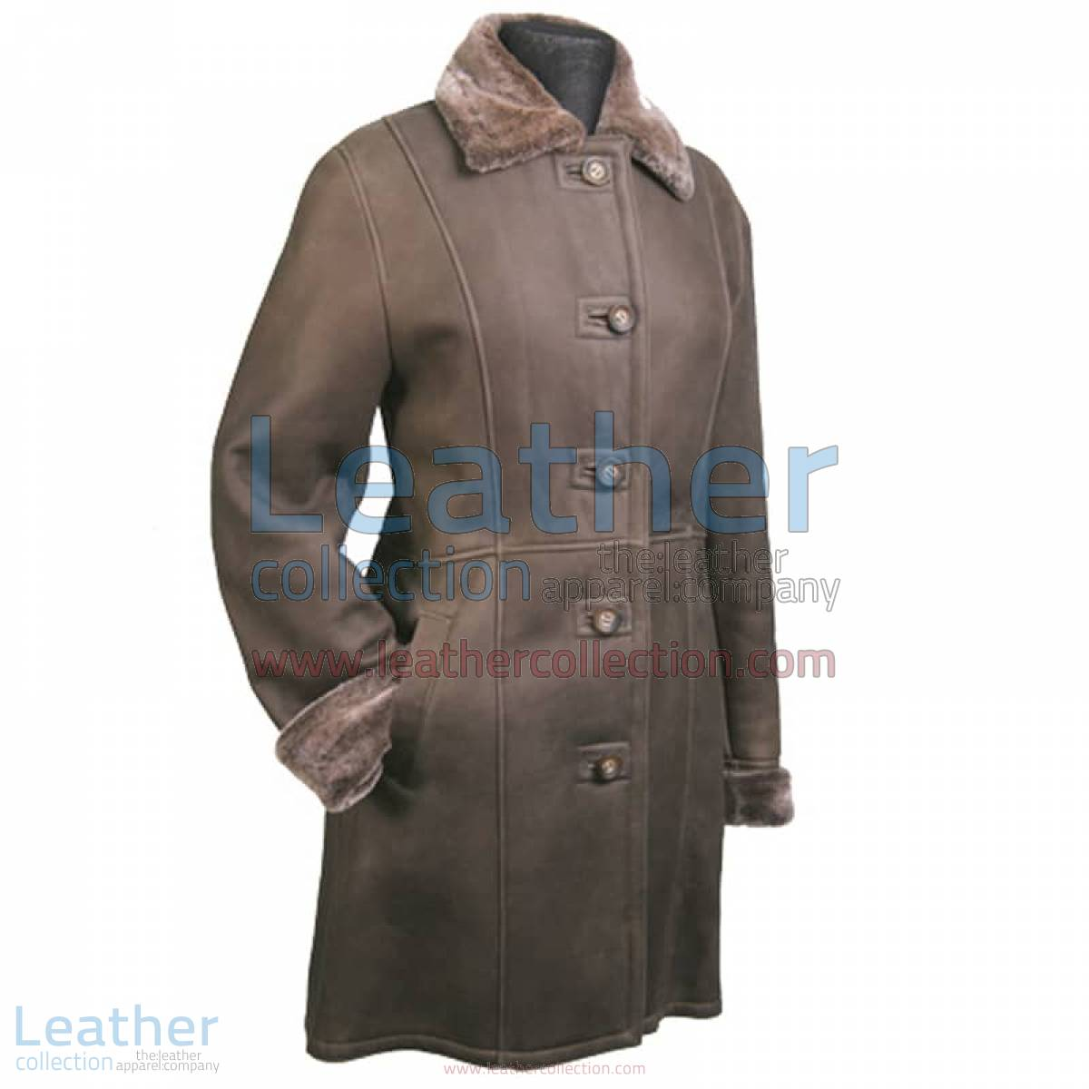 Long Leather Fur lined Coat