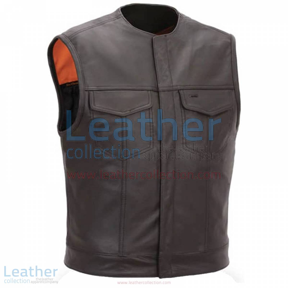 Men Leather Vest with Concealed Snap Front Closure