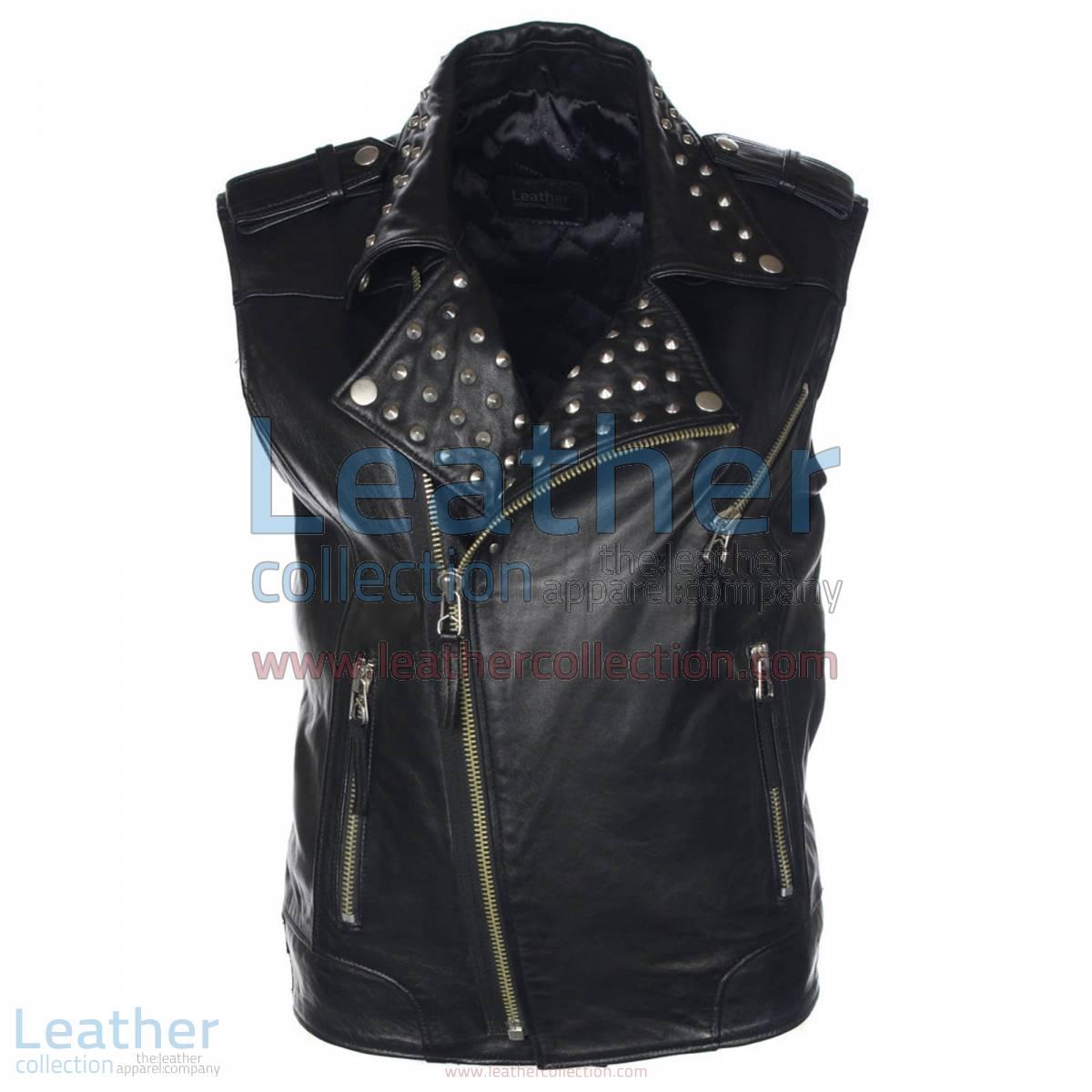 Men Studded Collar Biker Leather Vest