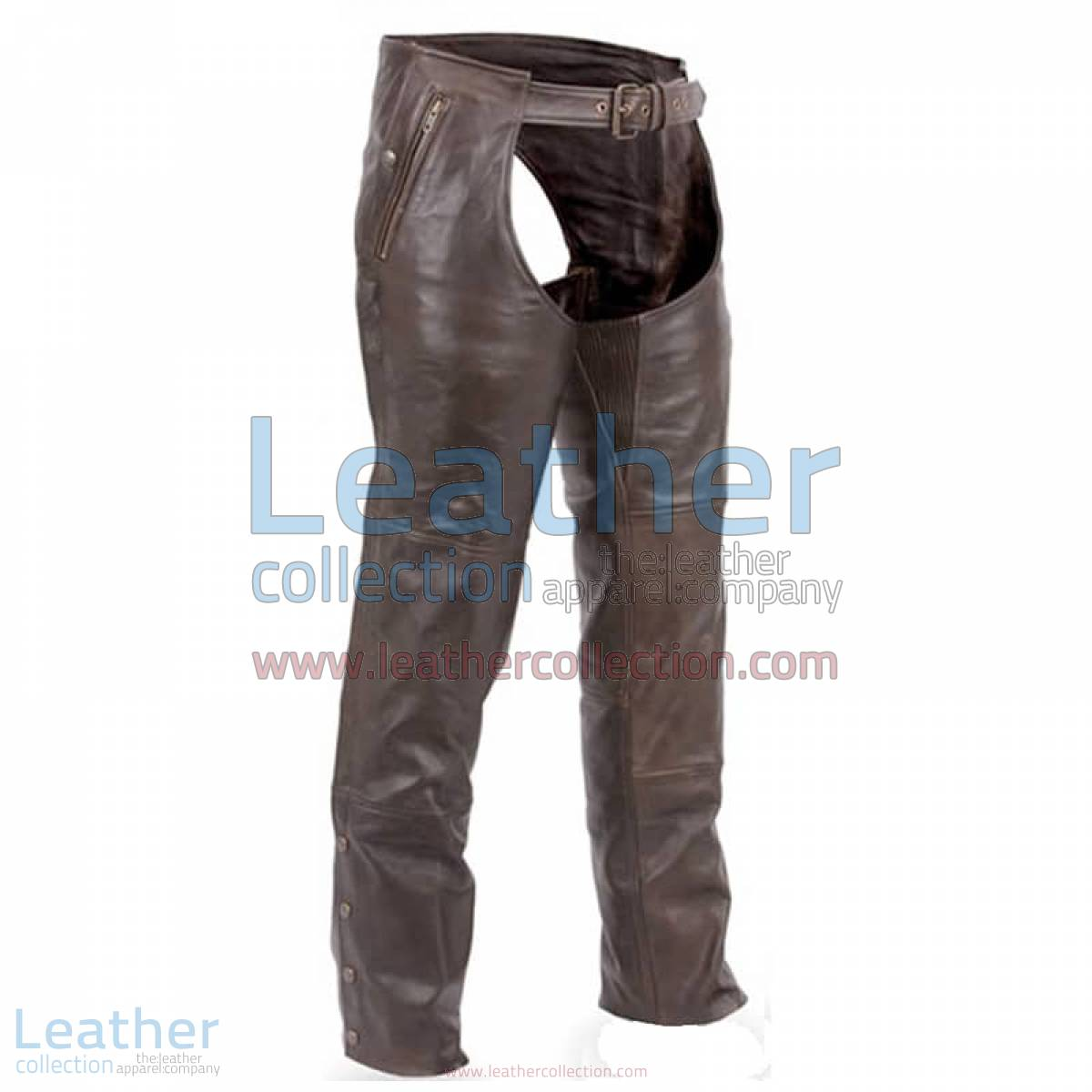Premium Brown Leather Motorcycle Chaps