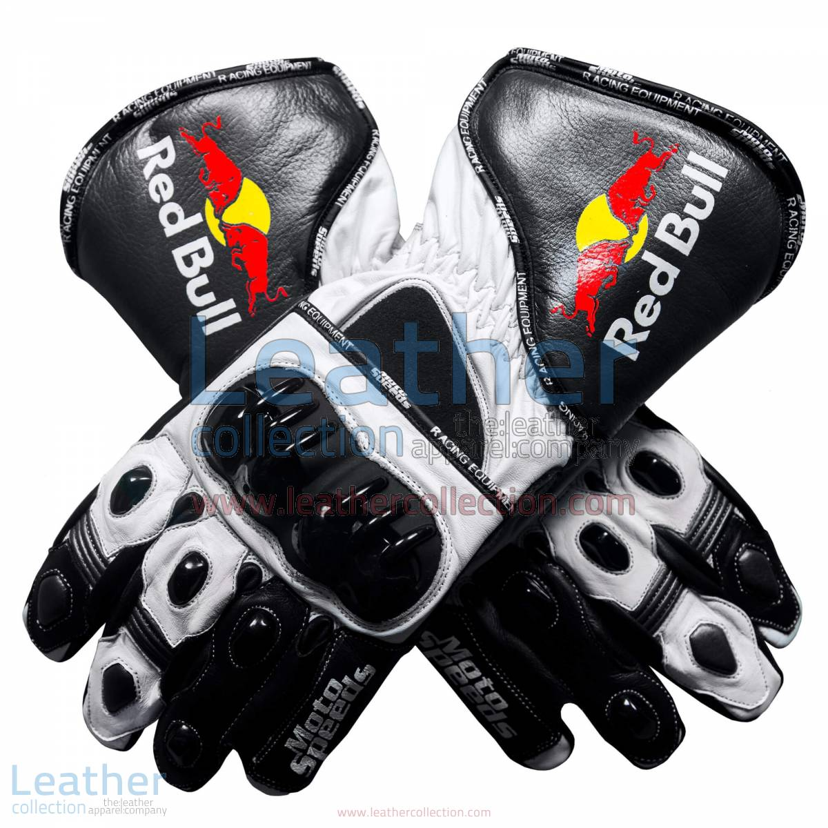 Red Bull Motorcycle Leather Gloves