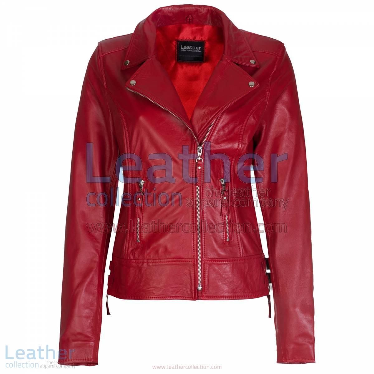 Red Vintage Biker Leather Jacket
