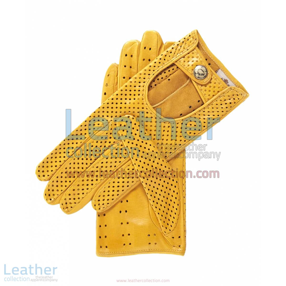 Ventilated Yellow Driving Gloves Ladies