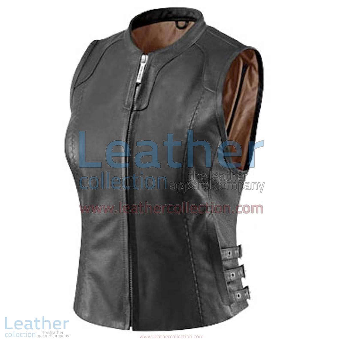 Women's Black Classic Leather Vest