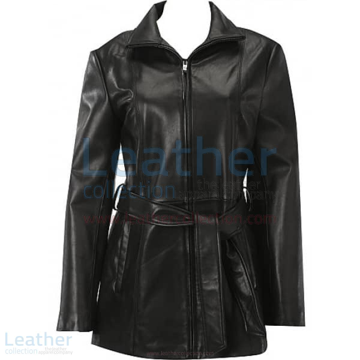 Belted Front Zipper Leather Fashion Coat