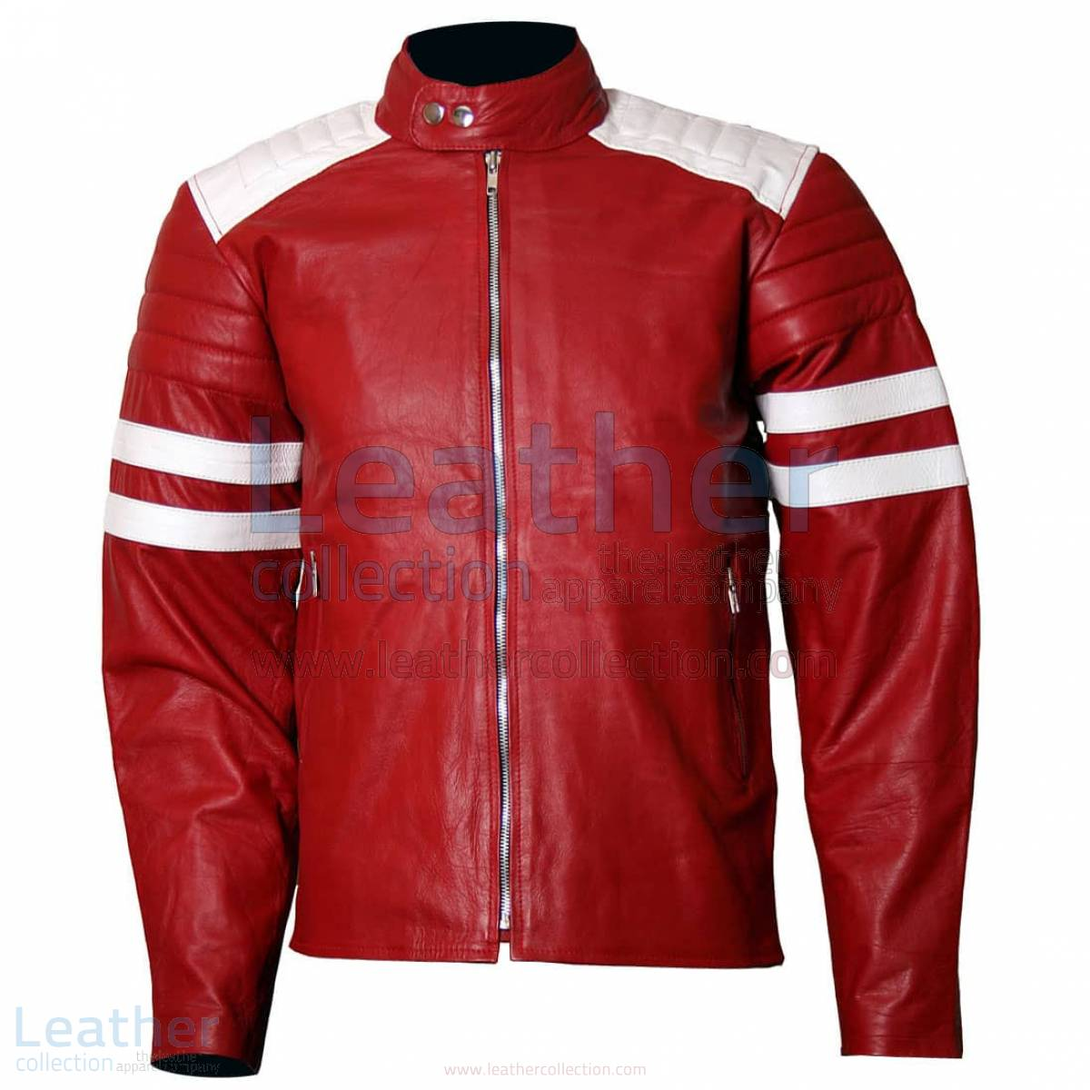 Brad Pitt Fight Club Red Leather Jacket Men