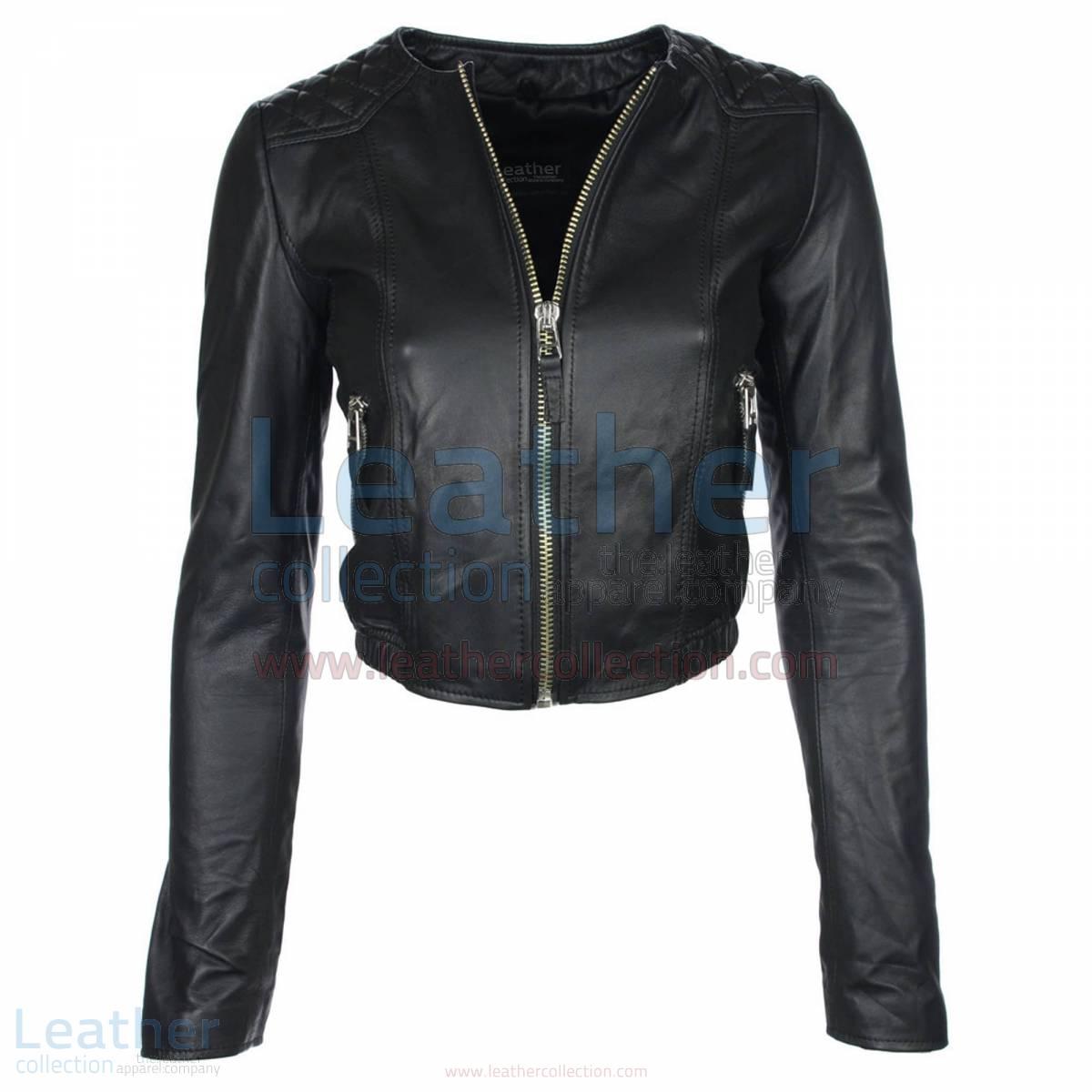collarless leather jacket