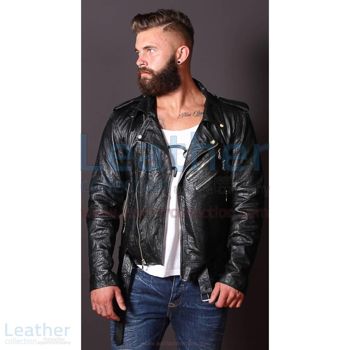 Fashion Men Wrinkle Leather Jacket