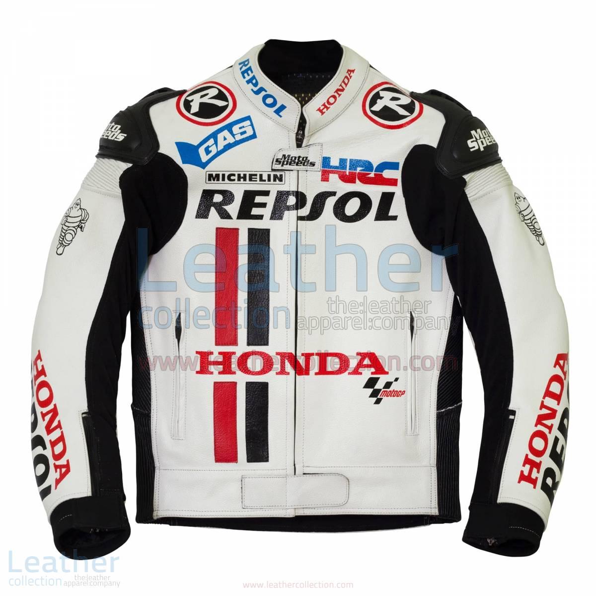 Honda Repsol White Leather Race Jacket