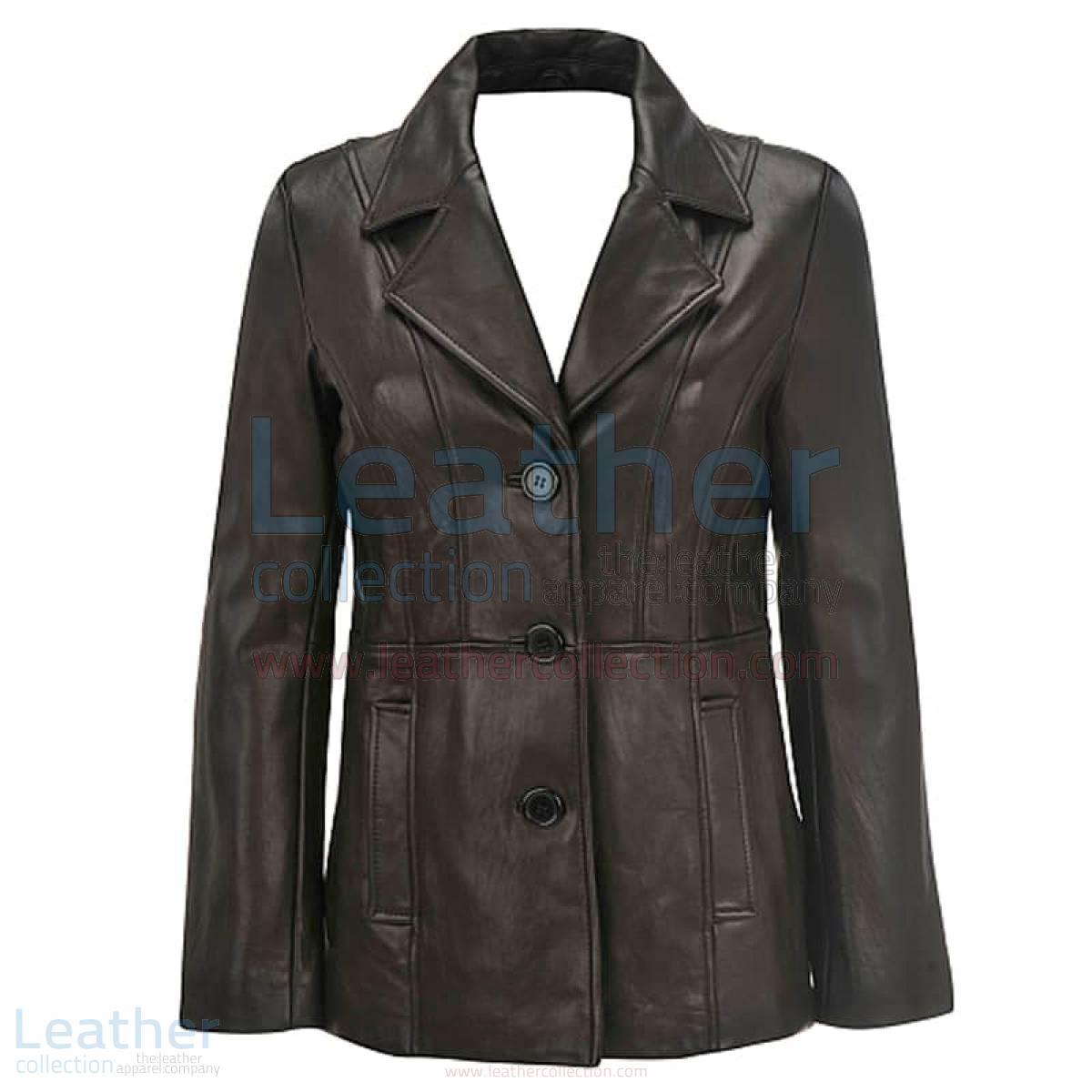 ladies black leather blazer