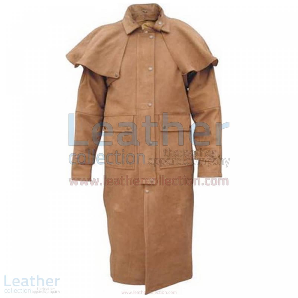 leather coat mens long