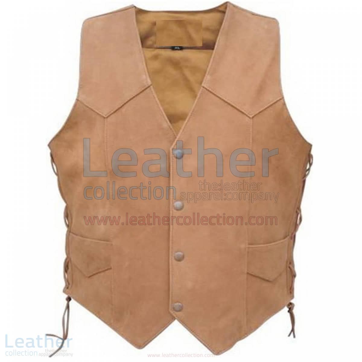 Men's Side Lace Gun Pocket Leather Vest
