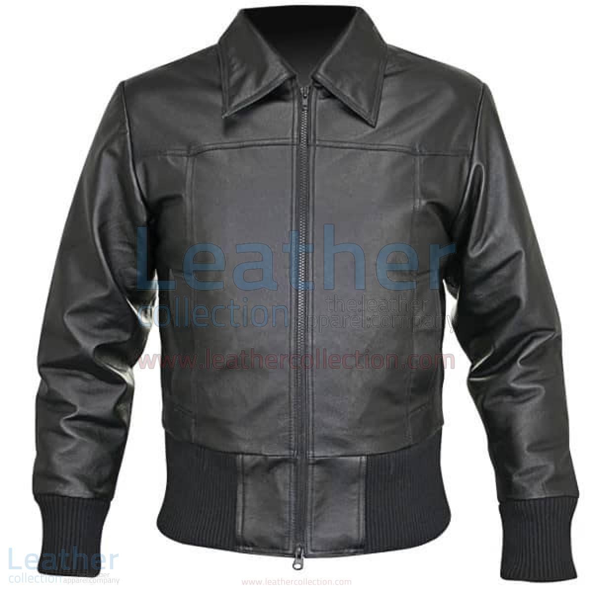 Rib Knit Waist Length Jacket of Leather