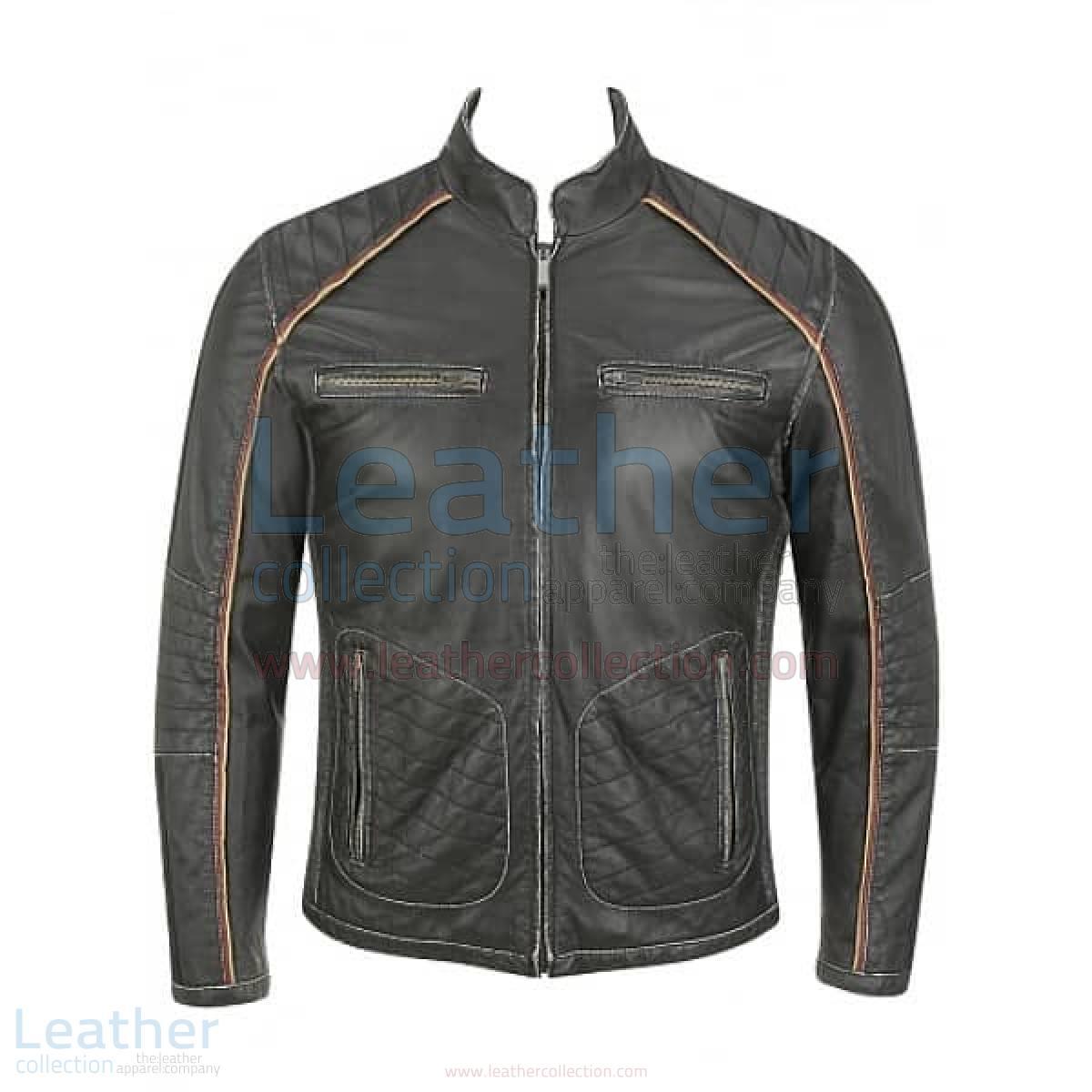 Semi Motorbike Casual Leather Piping Jacket