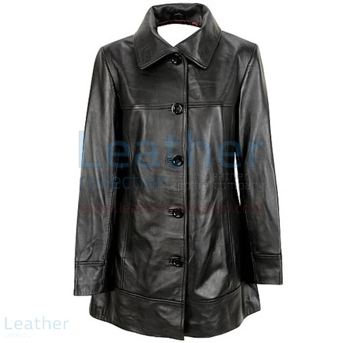 6 Button Leather Coat front view