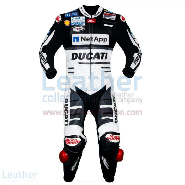 Andrea Dovizioso Ducati MotoGP 2018 Leather Suit Black front view