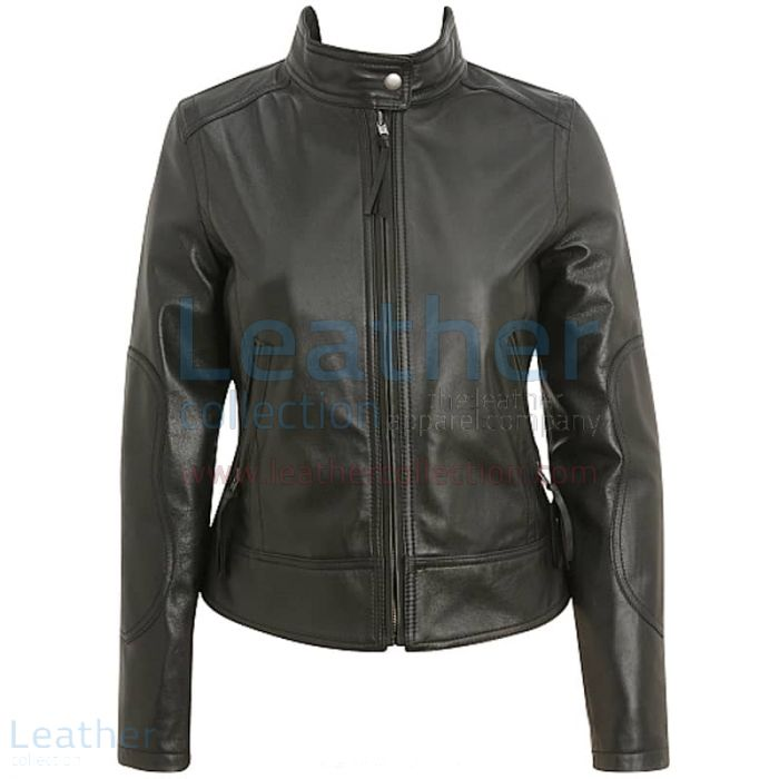 Band Collar Leather Motorcycle Jacket front view