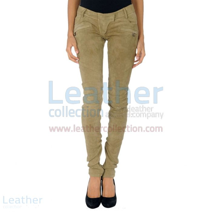 Beige Leather Suede Pant Ladies front view