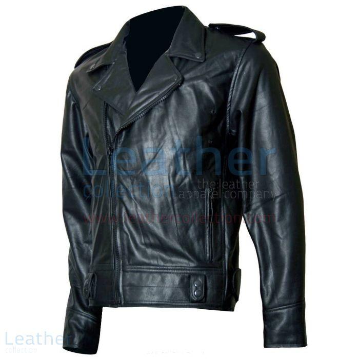 Biker Boyz Smoke Biker Black Leather Jacket front