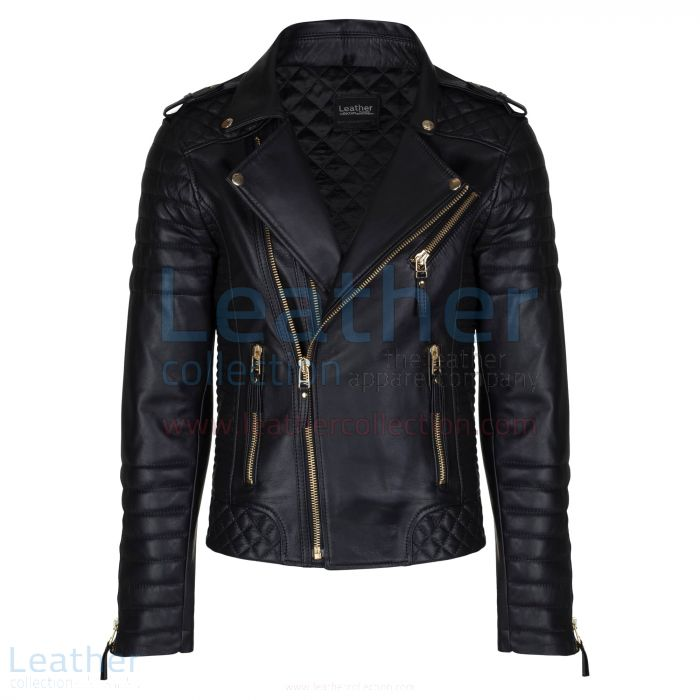 Biker Mens Quilted Leather Jacket with Golden Hardware front view