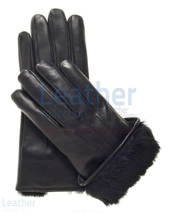 Black Fur Cuff Leather Gloves upper view