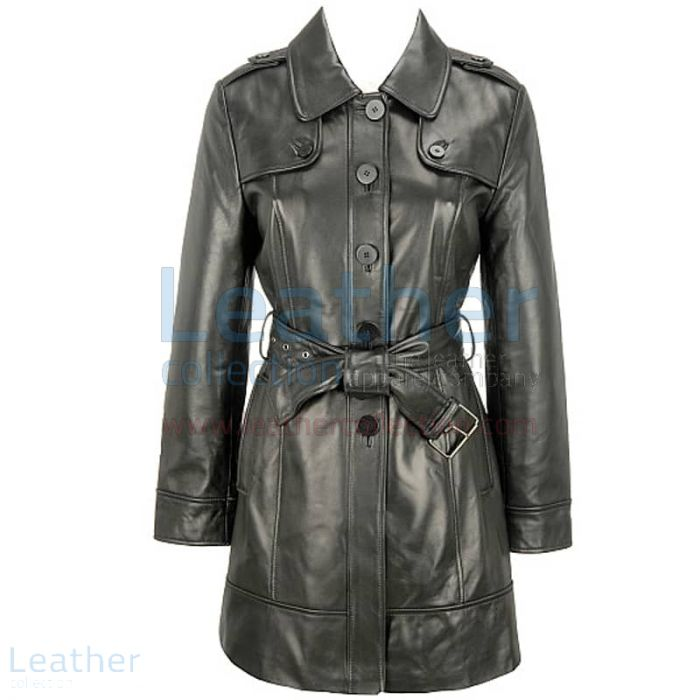 Black Lamb Belted Trench Coat with Thinsulate Lining front view