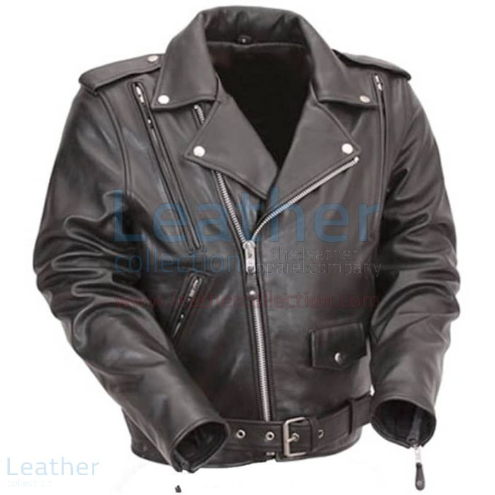 Black Leather Motorcycle Jacket with Exclusive Built-in Back Support Front View