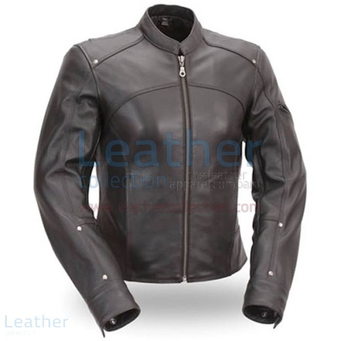 Black Leather Touring Motorcycle Jacket front