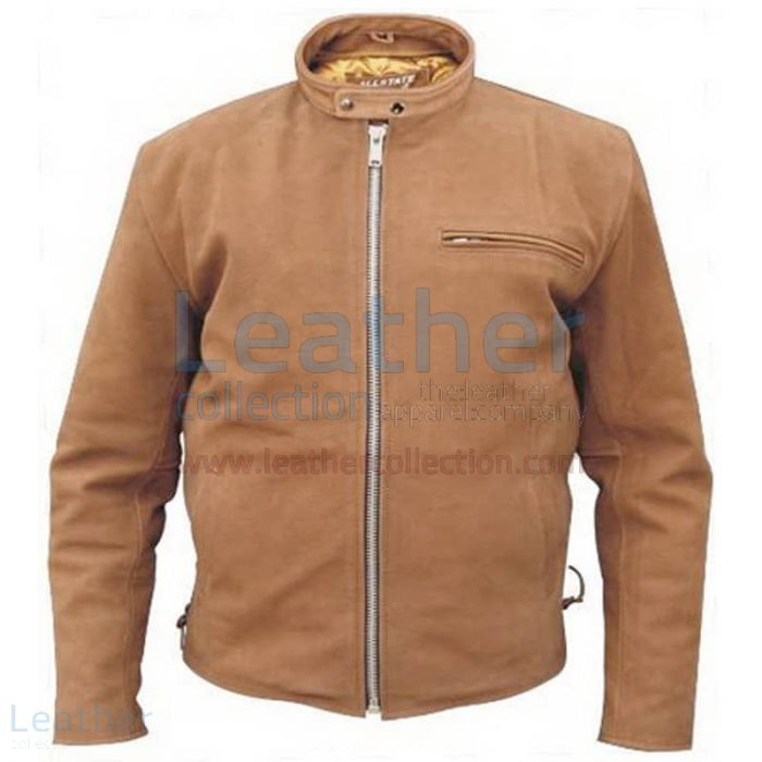 Brown Leather Scooter jacket front view