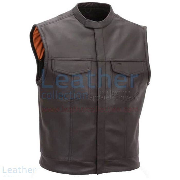 Brown Leather Vest with Scooter Collar front view