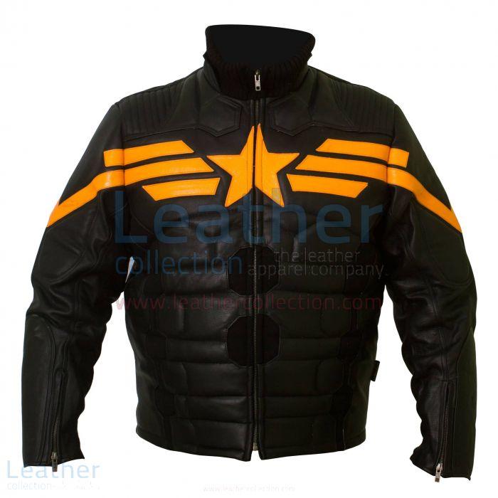 Captain America Black Biker Leather Jacket front view