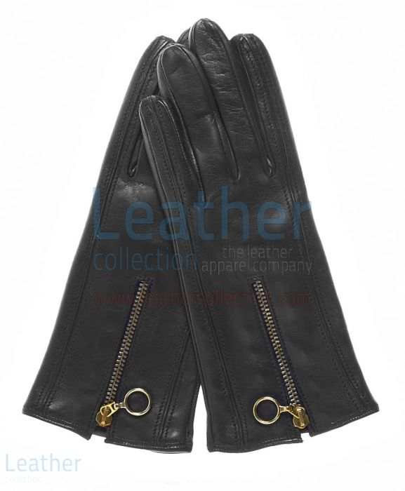 Cashmere Gefüttert Leder Handschuhe mit Reißverschlüssen