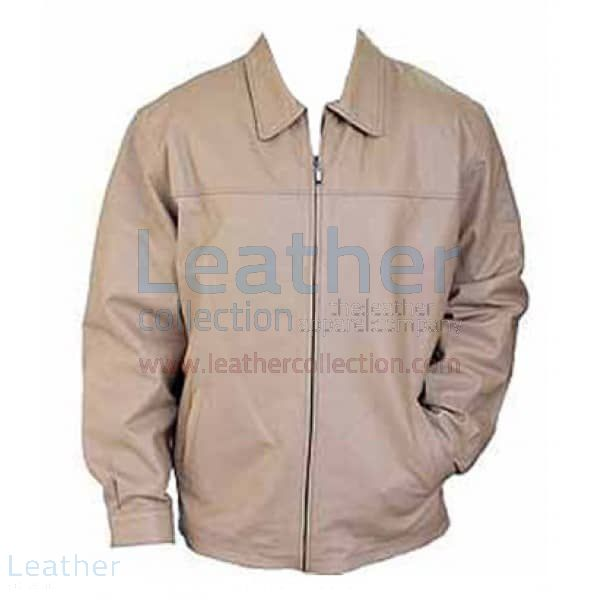 Classic Fashion Men Beige Leather Jacket front view
